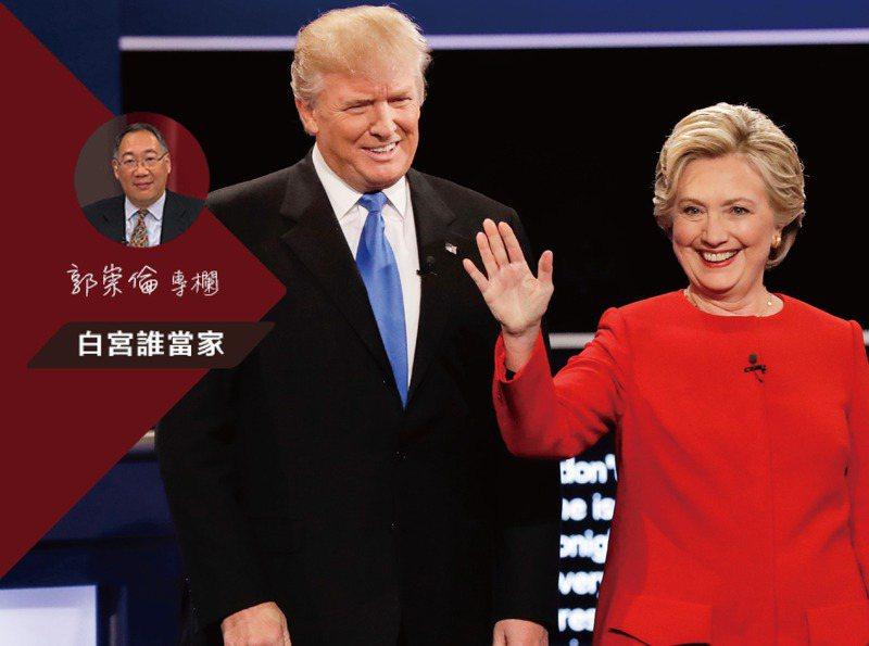 四年前美國總統大選,希拉蕊(右)贏了286萬票,卻因輸掉賓州、威斯康辛與密西根三州,總計選舉人票輸給川普(左)而抱撼。美聯社