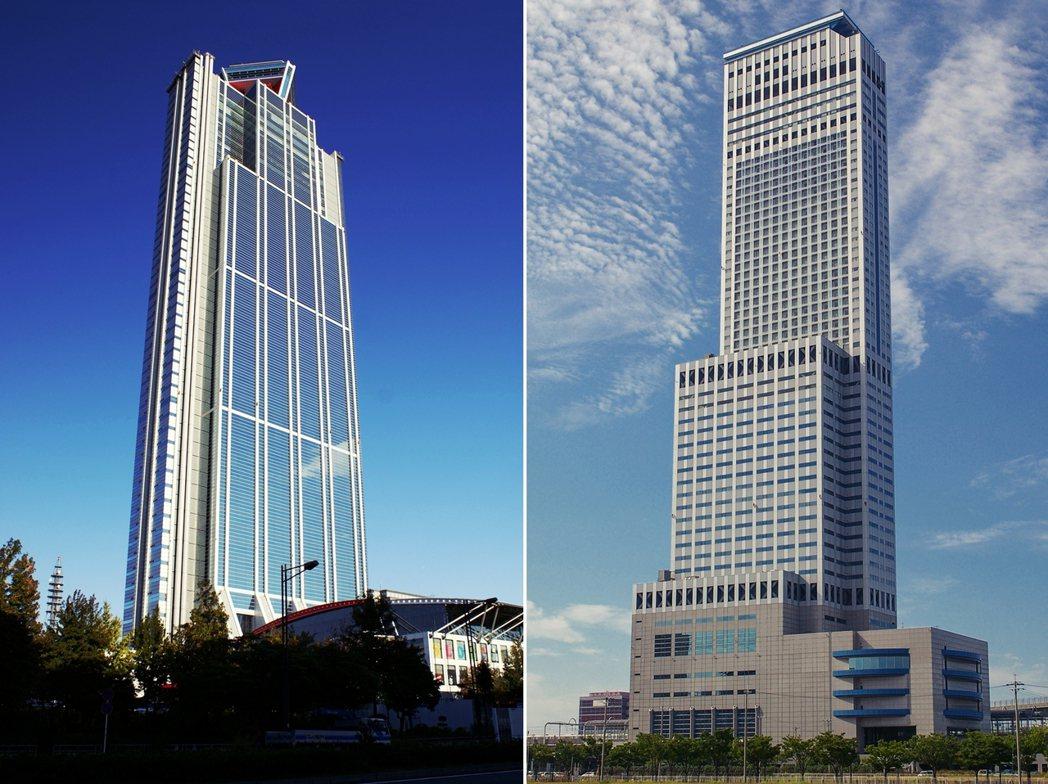 左為大阪世貿中心、右為臨空門大樓。目的都是為了要招商與提供會展中心之用,但卻消耗...
