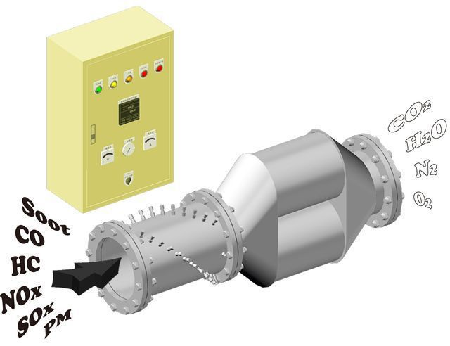 喬英電機公司推出五位元智慧型多功能排煙淨化器。 工業局/提供