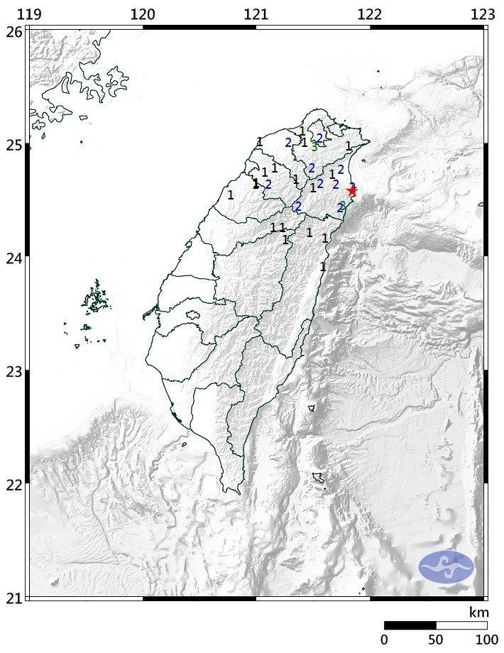 上午發生芮氏規模4.7的地震,震央在宜蘭縣蘇澳鎮。圖/中央氣象局提供