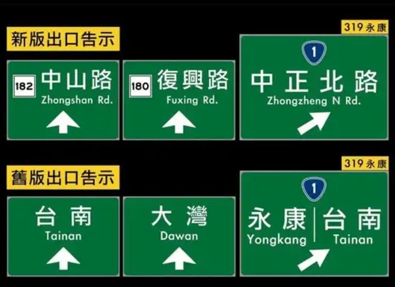 高速公路閘道新舊標示引發爭議。圖/翻攝「台南爆料公社」