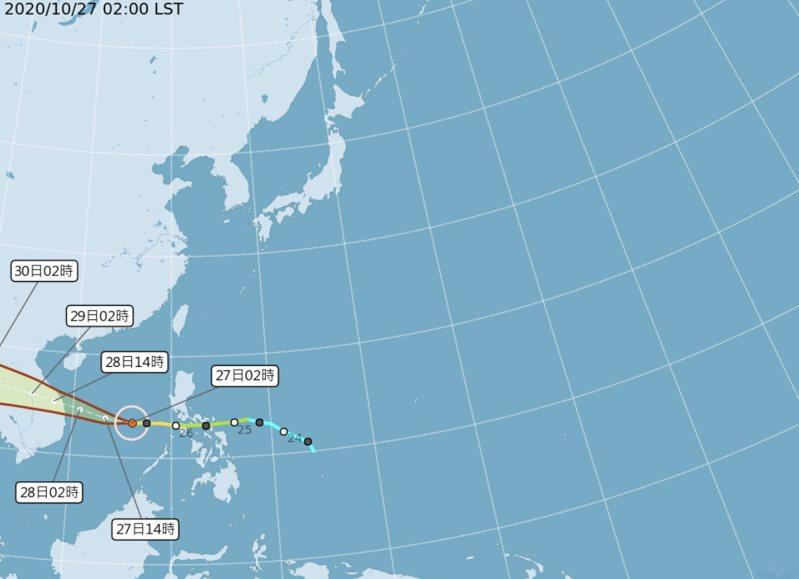 根據中央氣象局「路徑潛勢預測圖」顯示,第18號颱風「莫拉菲」在南海,偏西往越南前進,對台無影響。圖/氣象局提供