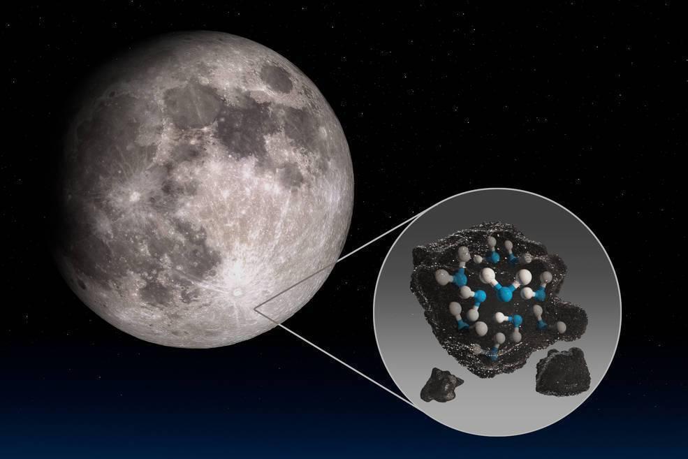 NASA發現月球的太陽照射處有水的存在。取自NASA