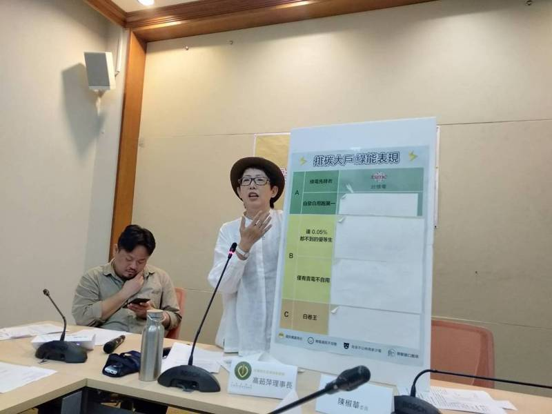 台灣再生能源推動聯盟今舉行記者會呼籲政府應公布名冊督促用電大戶使用綠能,並在會中公布調查,公開國內15大排碳大戶。記者陳熙文/攝影