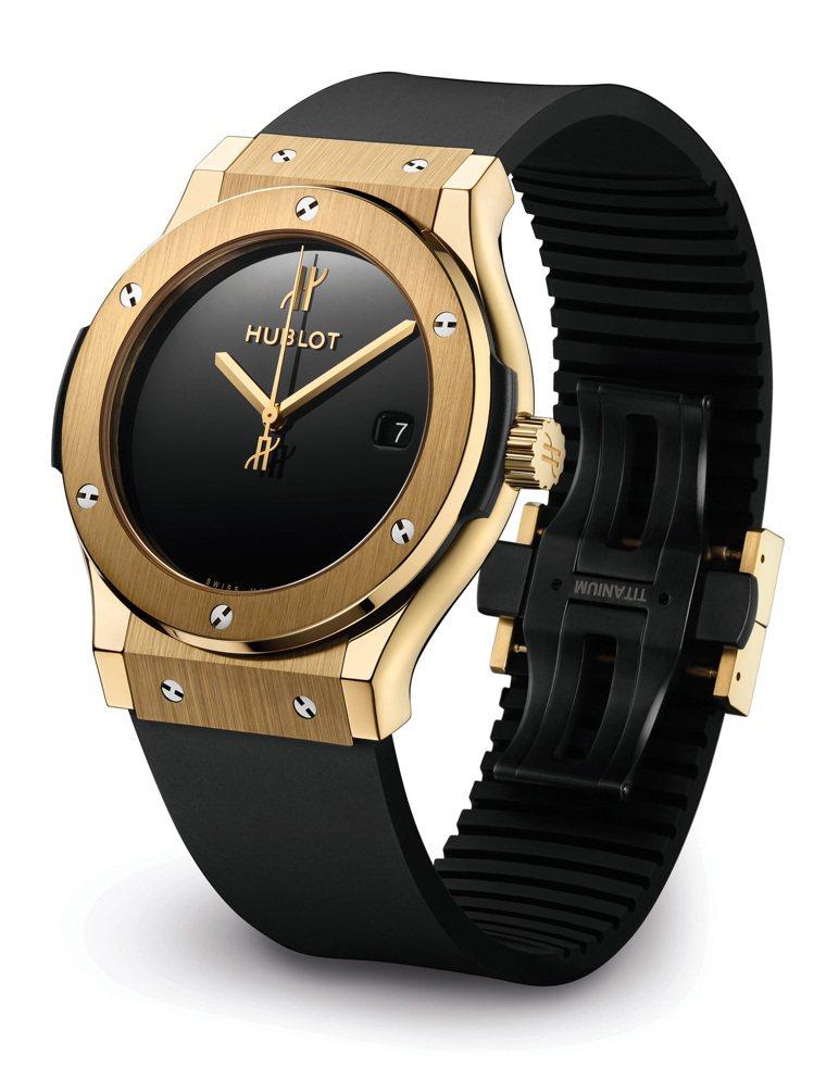 宇舶表經典融合系列40周年紀念腕表,18K黃金表殼、表圈搭配頂級天然橡膠表帶,全...