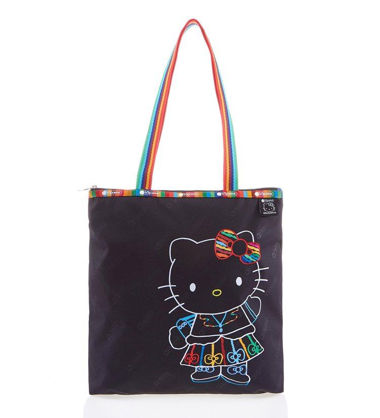 Hello Kitty七彩寫生長型托特包,3,200元。圖/LeSportsac...