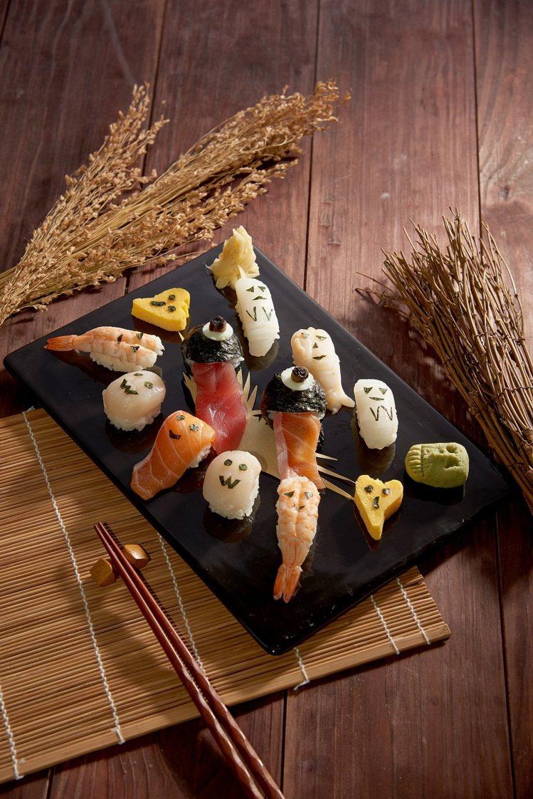 微風廣場丸壽司萬聖節限定造型壽司原價650 元,特價520元。圖/微風提供