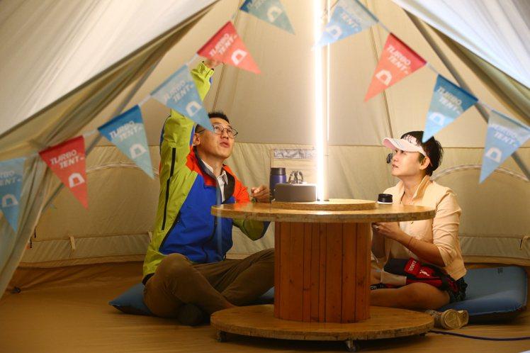 主打3個步驟完成帳篷搭設的台灣品牌「Turbo Tent」。記者葉信菉/攝影