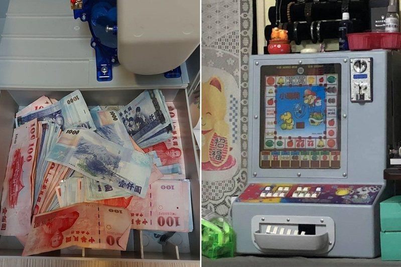 網友疑似在「小瑪莉」機台內藏私房錢。右圖為其他網友家中的「小瑪莉」機台。 圖/翻攝自「爆廢1公社」