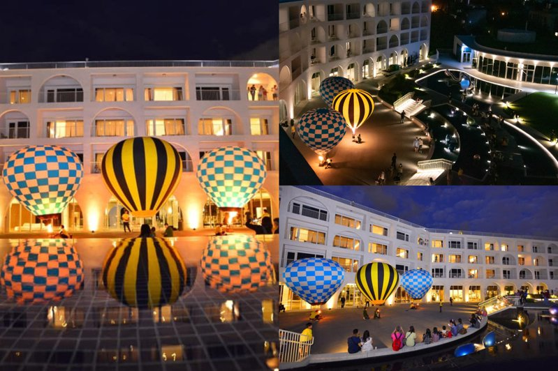 只要天氣風候狀況穩定,即有機會在淡水賞見10顆7米高的「迷你熱氣球光雕秀」。圖/滬尾藝文休閒園區臉書專頁