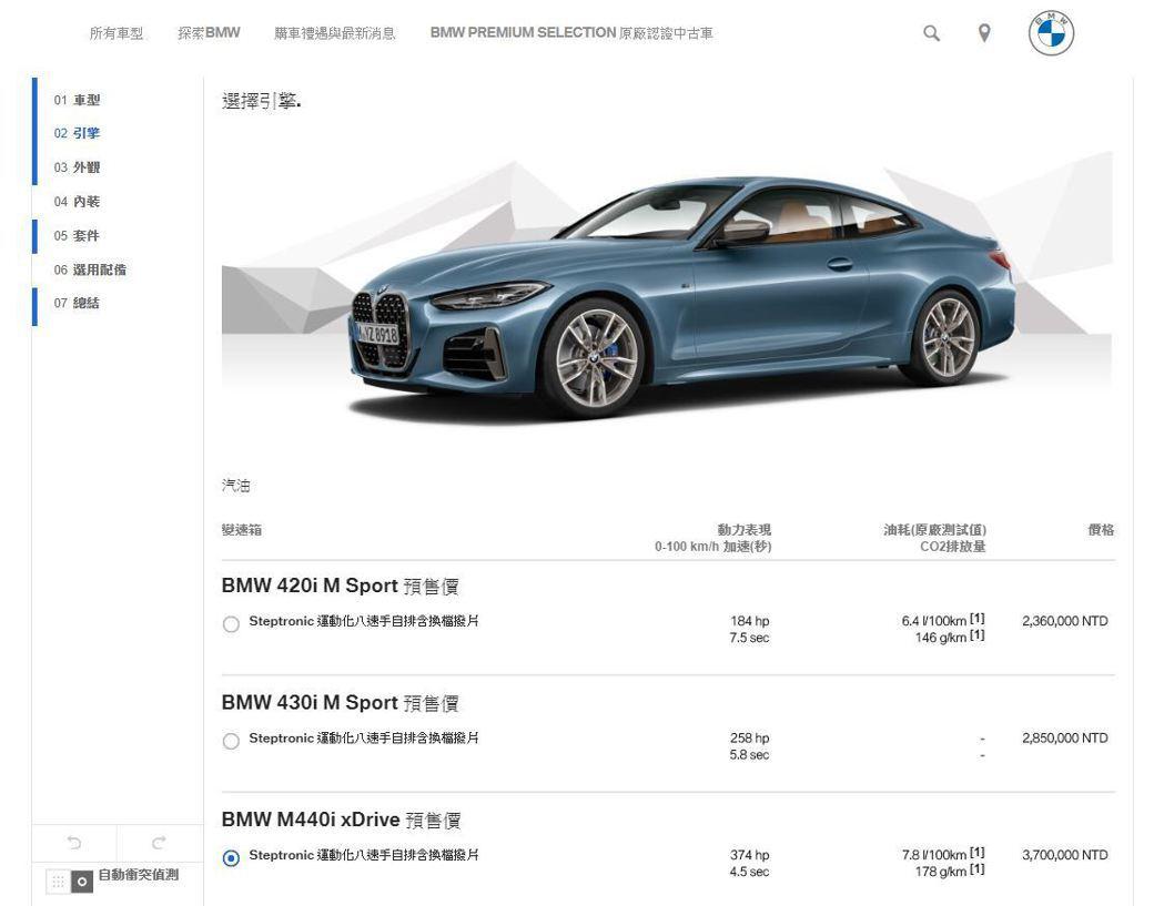 新世代BMW 4 Series Coupe在台灣市場將提供三種車型,預售價236...
