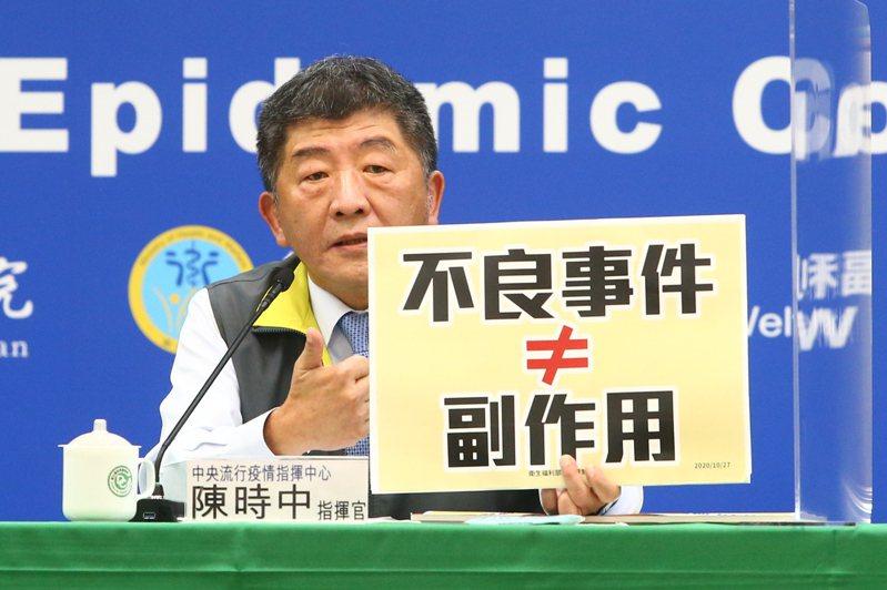 中央流行疫情指揮中心指揮官陳時中表示,行政院院長蘇貞昌希望指揮中心向大眾說明清楚疫苗接種的疑慮,也證實蘇貞昌確實有打電話向他了解情形。圖/聯合報系資料照