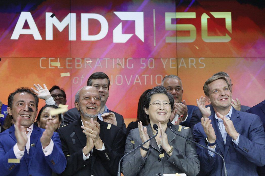 超微(AMD)宣布以350億美元全股票交易收賽靈思(Xilinx),圖前排右二為...