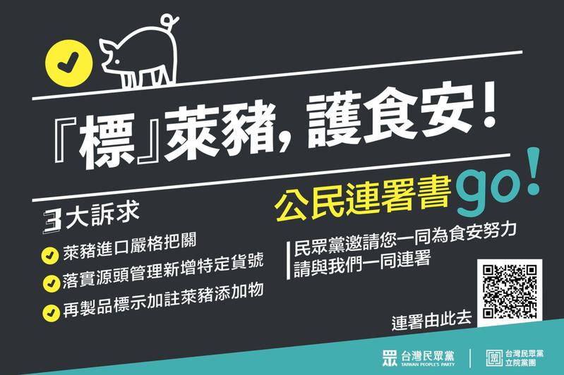 台灣民眾黨在公共政策網路參與平台發起「標萊豬、護食安」公民連署。圖/取自民眾黨臉書