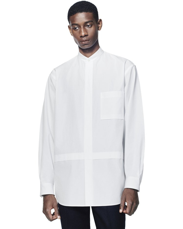 +J SUPIMA COTTON寬版立領襯衫1,290元。圖/UNIQLO提供