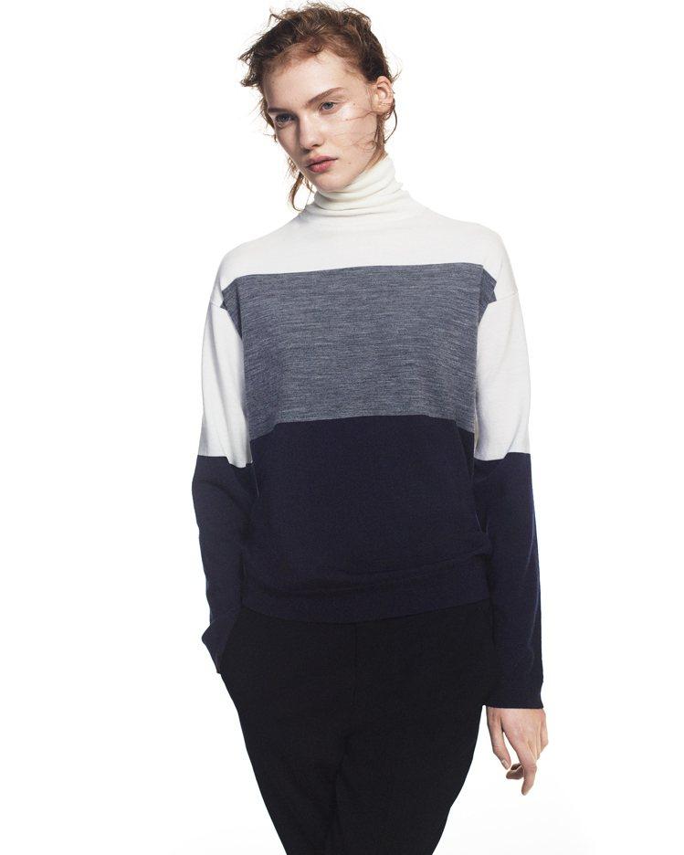 女裝+J美麗諾混紡高領毛衣1,290元。圖/UNIQLO提供