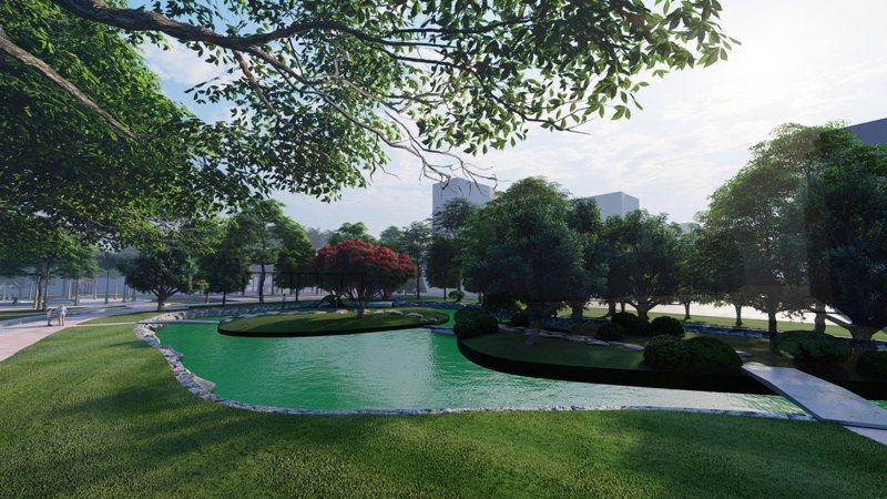 嘉義市府建設處將改善嘉義公園內小西湖景觀,並打造全齡式兒童遊戲場等設施,目前設計示意圖已出爐。圖/市府提供