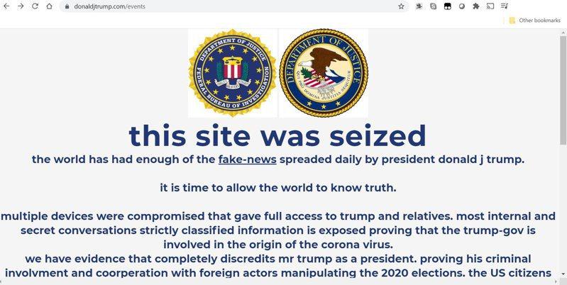 美國總統川普的競選網站27日遭駭,首頁出現偽聯邦調查局(FBI)與美國司法部徽章,搭配上「此網站已被查封」的標題,駭客聲稱「川普總統散布的假新聞夠多了,是時候讓世界知道真相」。TWITTER@JackPosobiec