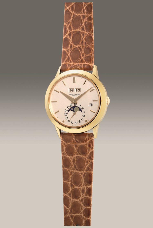 百達翡麗型號3450,18K黃金自動萬年曆腕表,備閏年、月相顯示,1985年製,...