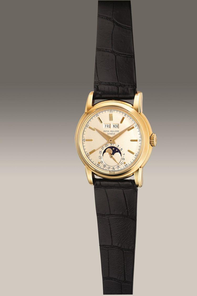百達翡麗型號2438/1, 18K黃金萬年曆腕表,備旋入式底蓋、中心秒針、月相顯...
