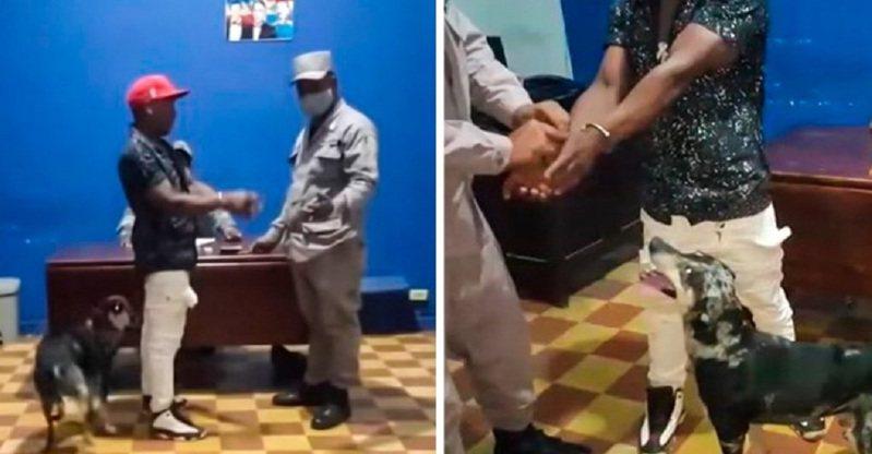 加勒比海的多明尼加共和國頒布防疫宵禁令,一名男子違規被捕後,他飼養的一隻狗狗隨後跟著進入警局求情,讓指揮官也難得心軟一次,將男子當場釋放。畫面翻攝:enportada.cl