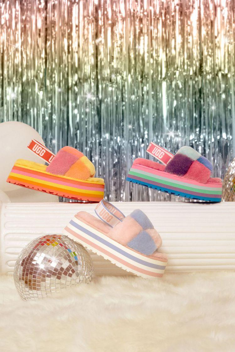 DISCO拼接厚底毛絨拖鞋,5,500元。圖/UGG提供