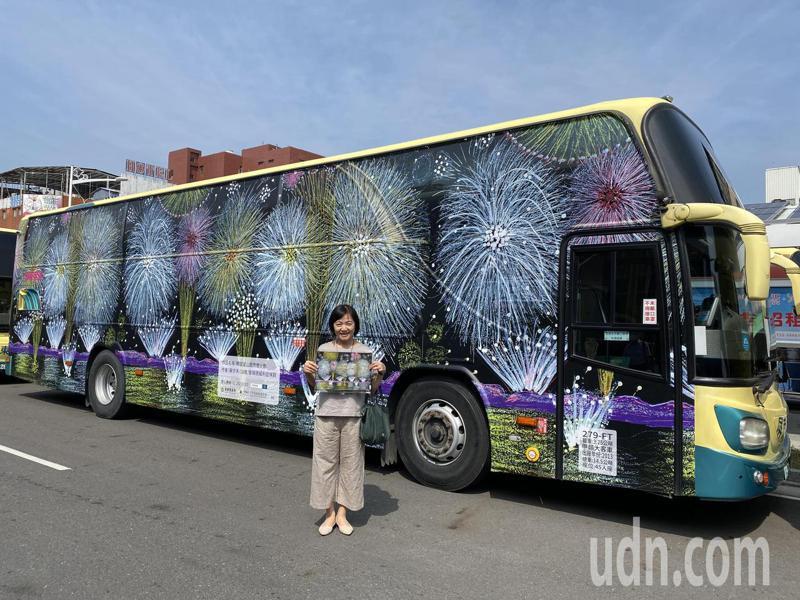 小胖威利病友蘇亦禾今天參加畢業旅行,媽媽出席藝術公車發表會,媽媽說,會專程找一天,帶著兒子搭著有兒子的畫作的藝術公車。記者劉星君/攝影