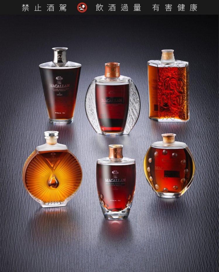 麥卡倫萊儷系列,50年至65年,共6瓶,估價450萬港元起。圖/邦瀚斯提供