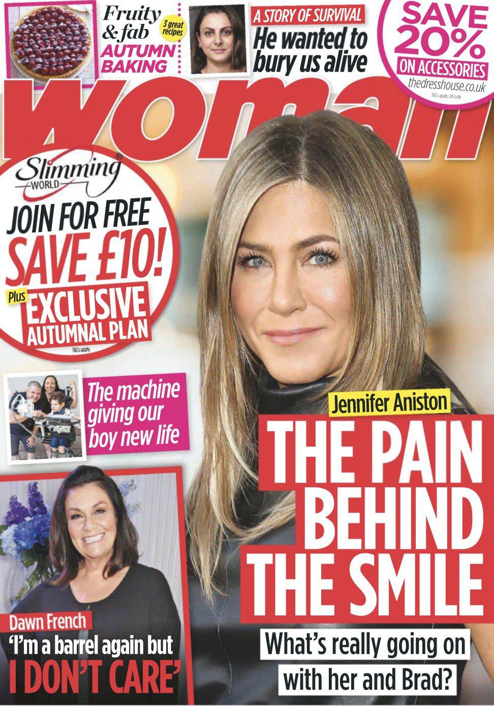 珍妮佛安妮絲頓又被雜誌指人前強顏歡笑,內心相當痛苦。圖/摘自Woman