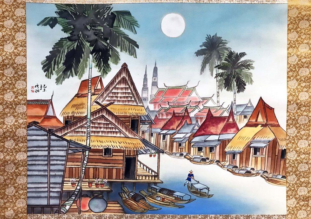 「秘密南方」現場展出1955年郭雪湖拜訪泰國古城所繪的《泰國水鄉》。 圖/作者自攝