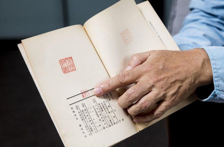 ▲小野翻開當年出版的《蛹之生》,秀出他親手蓋下用來辨別「正版」的印章。 圖檔/幸...