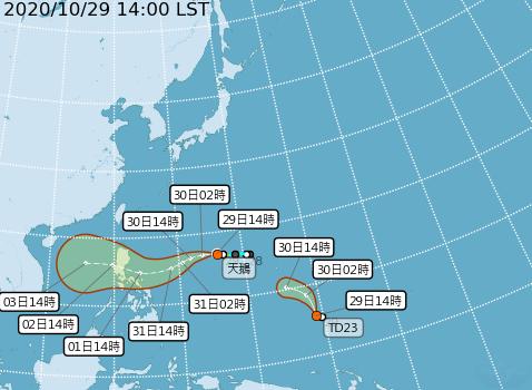 輕颱天鵝持續向西移動,將穿過呂宋島往南海前進,預估對台灣沒直接影響;關島東南方海面熱帶性低氣壓未來1至2天會發展成輕颱閃電。 圖/氣象局