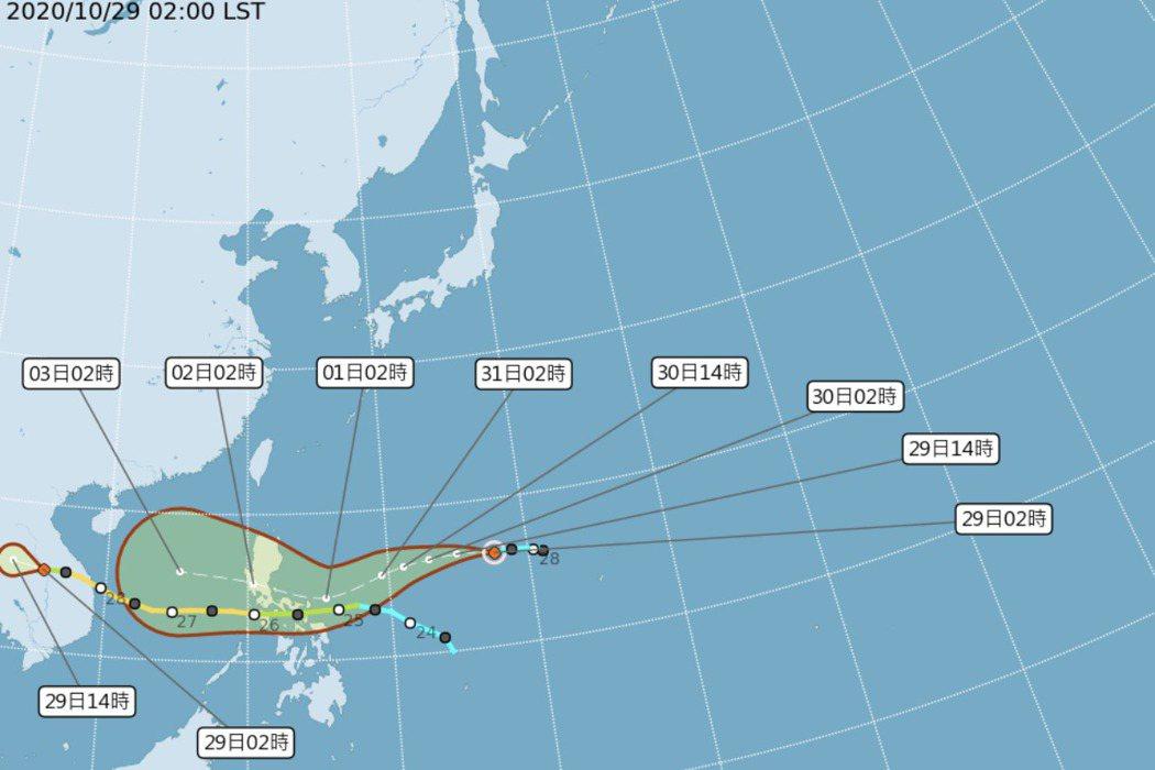 今年第19號颱風「天鵝」生成。圖/取自氣象局