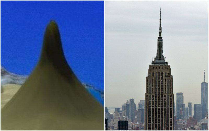 這座葉片狀的珊瑚礁寬1.5公里、高500公尺至比紐約帝國大廈(圖右)還要高,最高處僅位於海平面下40公尺。Schmidt Ocean Institute/路透