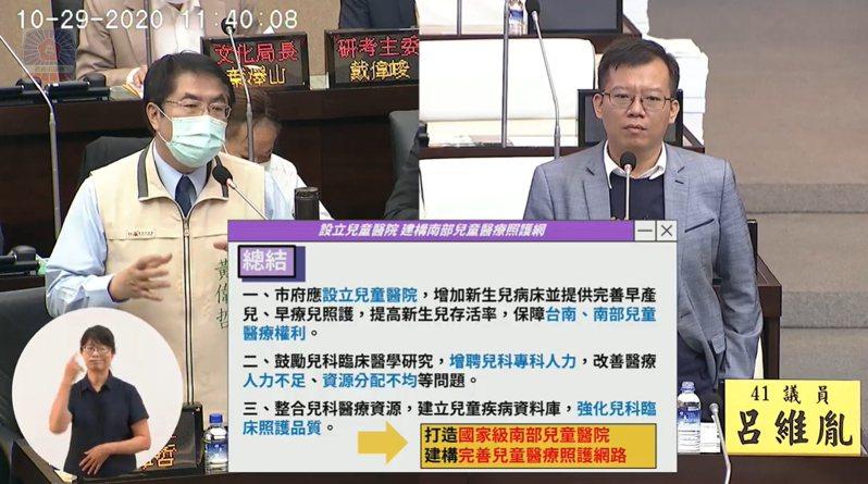 民進黨台南市議員呂維胤(右)爭取設置兒童醫院。記者鄭維真/翻攝