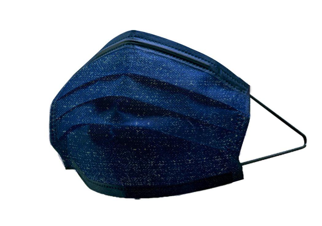 萊爾富10月31日上午10點限量開賣的「丹寧牛仔金屬藍」萊潔炫彩醫療口罩以深光藍...