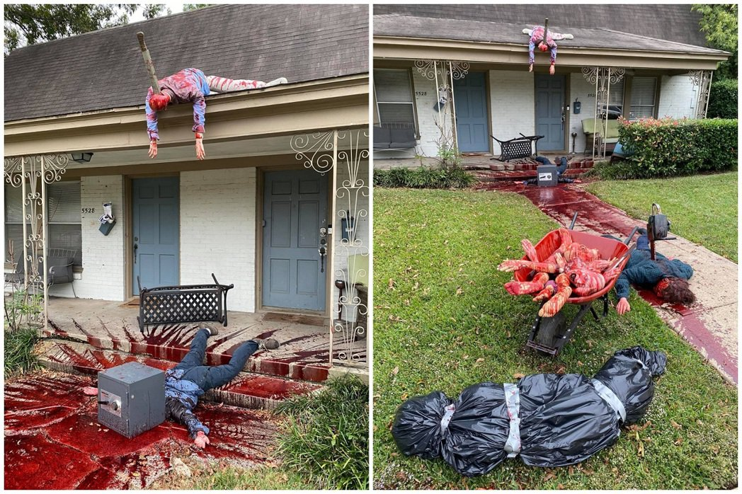 美國德州達拉斯居民諾維克是一位藝術家,趁著萬聖節將院子進行大改造,彷彿「德州電鋸...