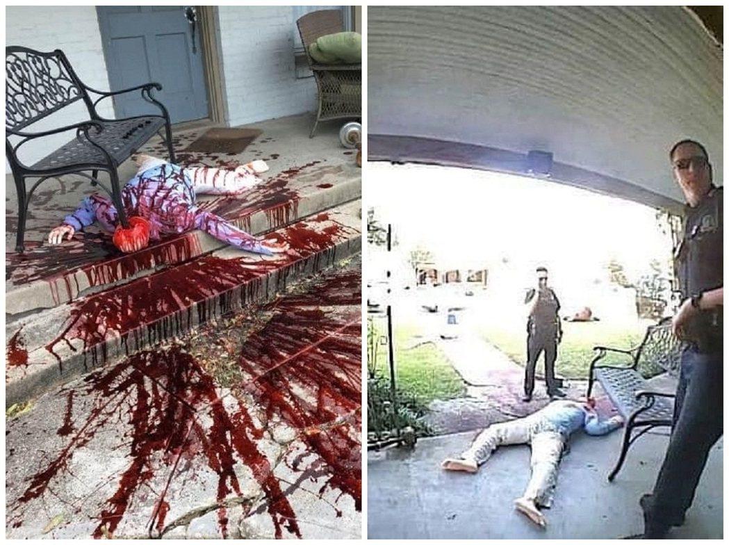 美國德州達拉斯居民諾維克趁著萬聖節改造院子,變得像是血濺四處的「犯罪現場」,引來...