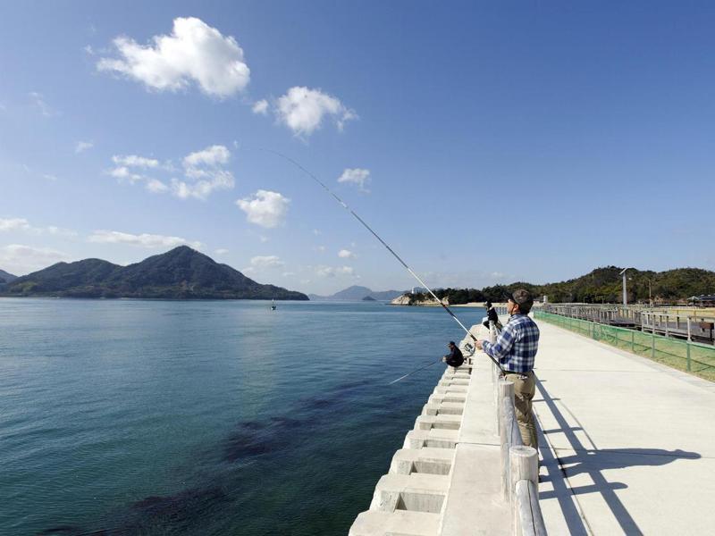 在瀨戶內海的大久野島上釣魚的男子。歐新社