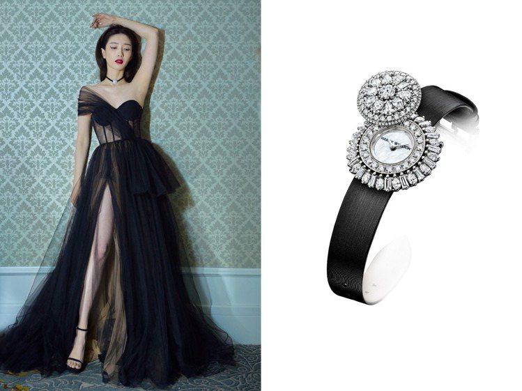 可自由在腕表、項鍊、胸針間自由切換的Rosebud頂級珠寶時計,蛻變為江疏影的頸...