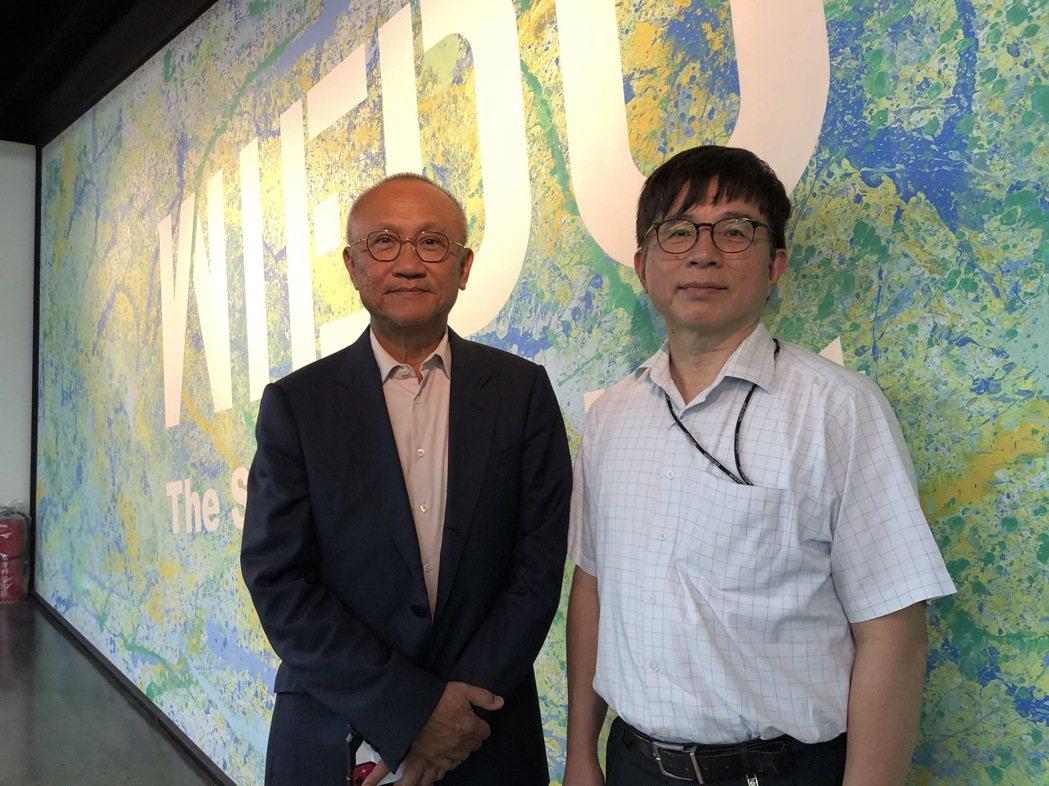 緯創副董事長黃柏漙(左)與緯育台灣區總經理劉德泰。記者蕭君暉/攝影
