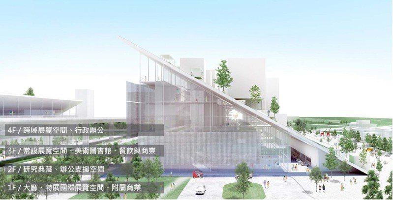 桃園市立美術館(圖為示意圖)新建工程將於12月動工,兒童美術館預計2023年完成,市立美術館則在2024年完工。圖/桃園市工務局提供