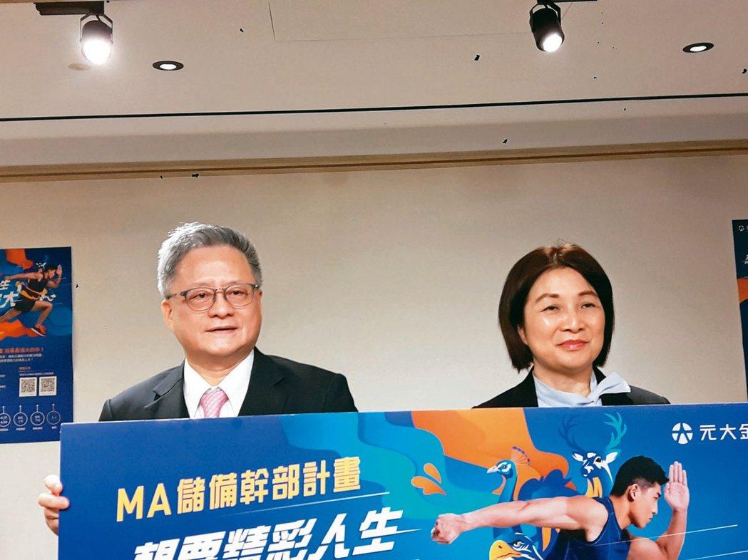 元大金總經理翁健(左)新任元大銀行董事長,圖為日前與人資長張曉耕(右)連袂宣布2...