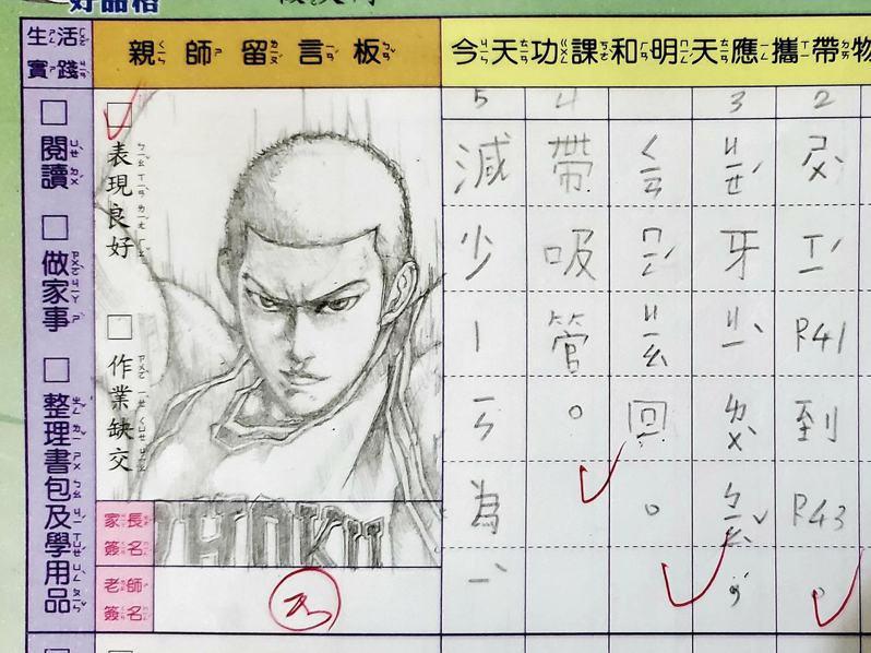 近日有一名超強老爸,在女兒的聯絡簿上,畫下日本動漫《灌籃高手》經典角色,被網友讚爆,圖為櫻木花道。圖擷自「爆怨2公社」臉書社團