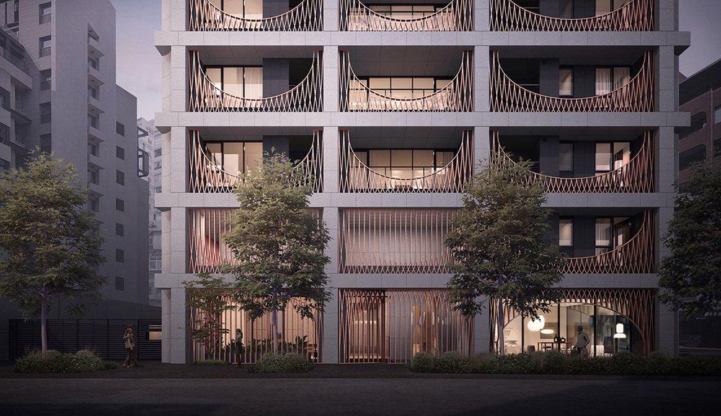 「鐫月」的建築立面呼應台北早期建築的鐵窗花記憶。 圖/大陸工程 提供