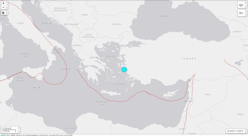 土耳其災害與應變管理署(AFAD)指出,愛琴海地區下午2時51分(台北時間晚間7時51分)傳規模6.6強震,電視畫面可見西南部伊茲米爾巿區多處地點建築倒塌。圖截自/美國地質調查局