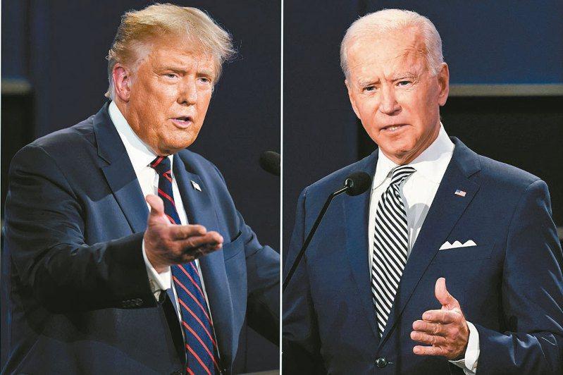川普(左)、拜登(右)。美聯社