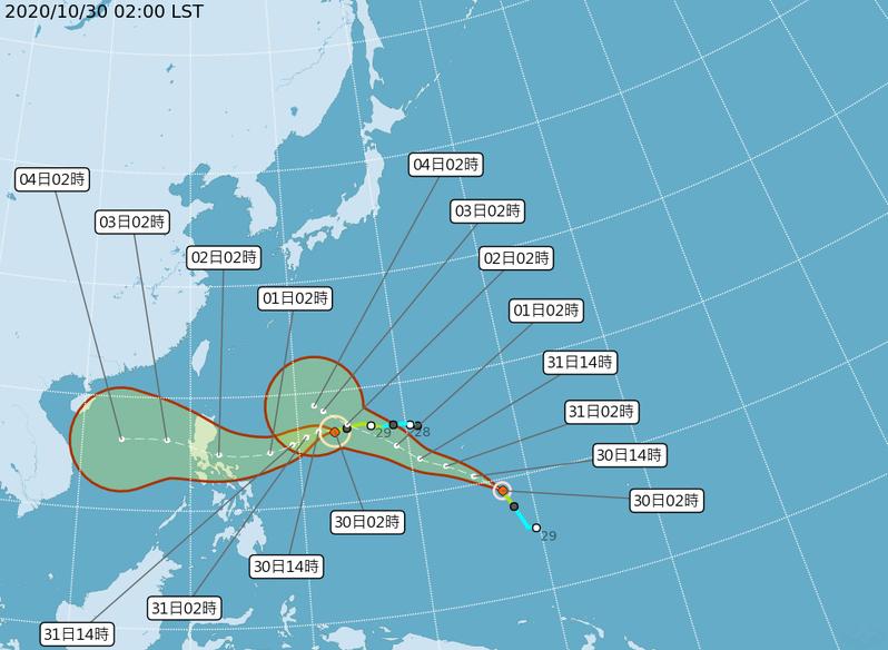 目前太平洋地區有2個颱風。圖/取自氣象局網站
