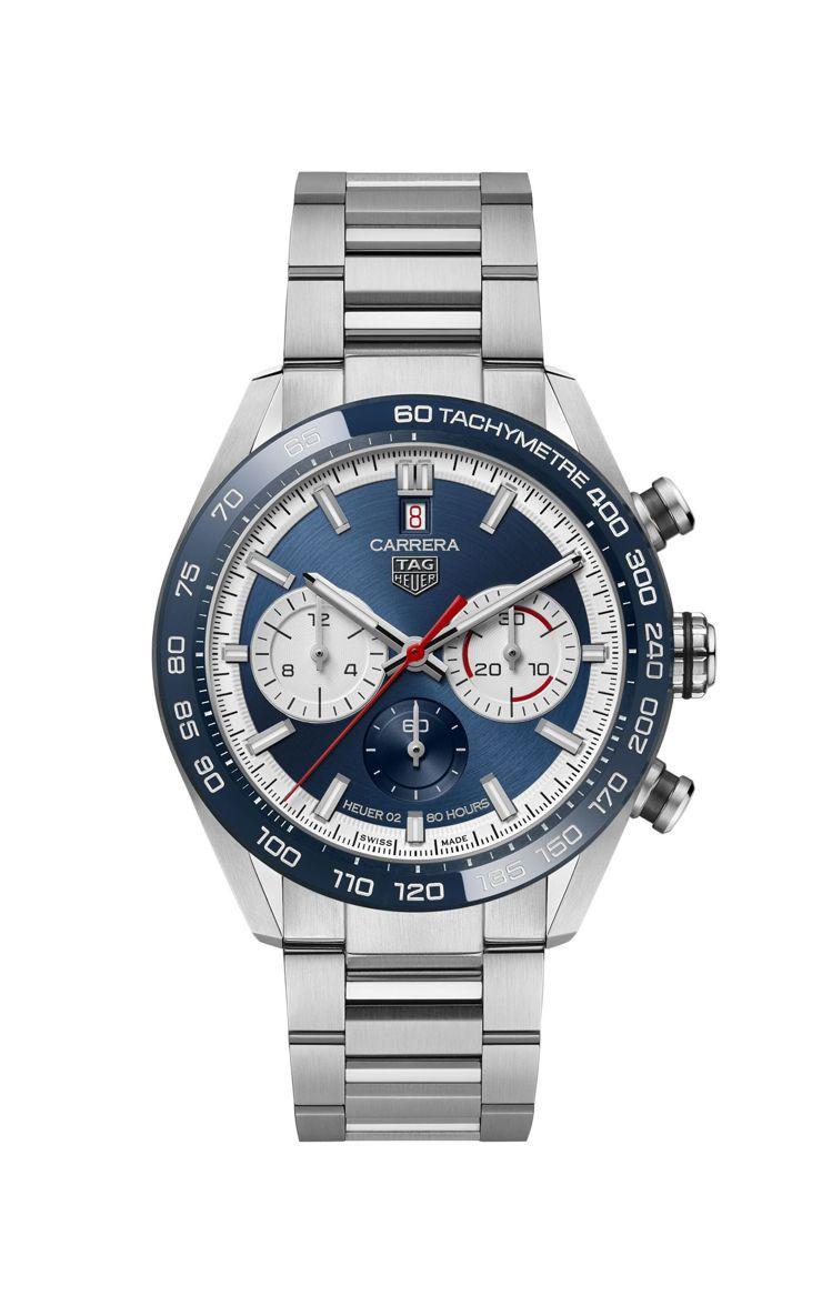 泰格豪雅Carrera Sport H02計時碼表,不鏽鋼表殼、表鍊,搭配藍色陶...