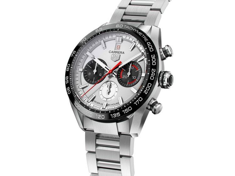 泰格豪雅Carrera Sport H02計時碼表,不鏽鋼表殼、表鍊,搭配黑色陶...
